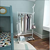 Zhihui Coat rack ZZHF yimaojia Bamboo Floorstanding Coat Rack/Modern Moveable Hangers/Bedroom/Simple Household/Clothes Rack coat racks free standing (Color : A-White, Size : 80cm)