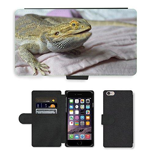 Just Mobile pour Hot Style Téléphone portable étui portefeuille en cuir PU avec fente pour carte//m00139402Reptile Pogona Talking//Apple iPhone 6Plus 14cm