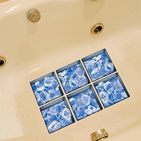 Anti Rutsch Aufklebers, Stillshine 6 Stück Quadratisch 130X130cm 3D Real Vinyl Anti-RutschWasserdicht Badewanne Sticker Badewannenaufkleber für Sicherheit Duschen Badezimmer (Eis)