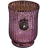 Anasa Decor Decorative Carving Hurricane Shape Glass Votive Tealight Candle Holder (10.8 Cm X 10.8 Cm X 14.15 Cm, Purple)