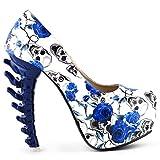 Histoire de voir la nouvelle OS haut talon plateforme os Heels Shoes, LF80610BU38, 38, bleu