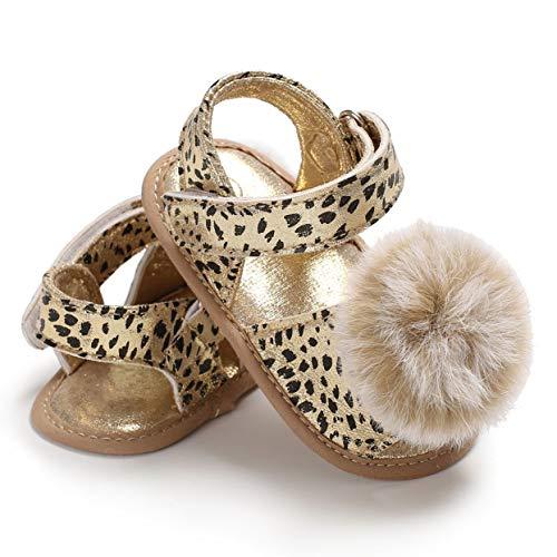 Tree-on-Life Primavera verano para bebés niñas Zapatos para niños pequeños Sandalias con estampado de leopardo con decoración de pompones Zapatos de princesa de suela suave ocasionales