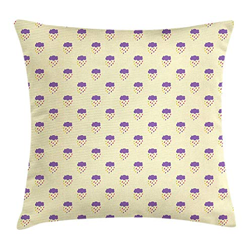 Doodle Throw Pillow Cushion Cover, Colorful Raindrops with Abstract Clouds Pattern on a Beige Background Weather Theme, Decorative Square Accent Pillow Case, 18 X 18 inches, Multicolor