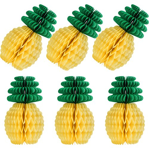 6 Packung Ananas Waben Dekoration 12 Zoll Papier Tropical Hawaiian Party Dekoration Set für Sommer Thema Party Strand Karneval Festival Hintergrund