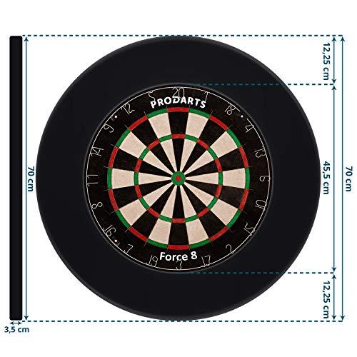 Dart Surround für alle Marken-Dartscheiben – Dart Auffang-Ring in Schwarz – hochwertige stabile Umrandung – Wandschutz für das Dartboard ohne Zusatzbefestigung – professionelle Optik – von ProDarts - 5