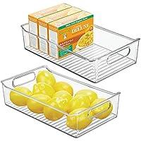 MetroDecor mDesign Juego de 2 fiambreras para el frigorífico – Cajas de plástico para Guardar Alimentos