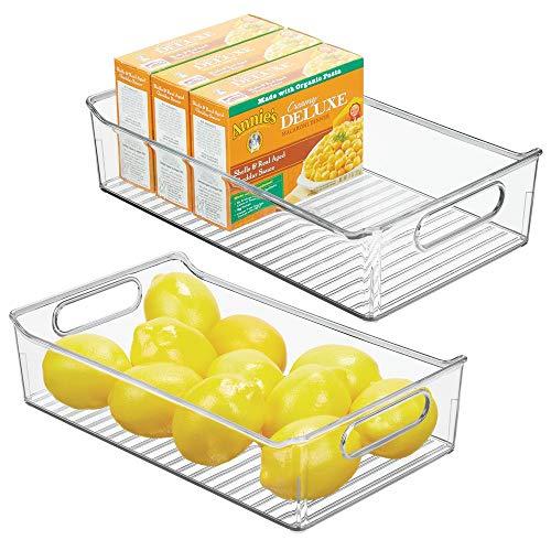 mDesign Organizador de cocina transparente Pr/áctica caja de t/é con tapa para cocina y despensa caf/é o especias Caja de almacenaje con ocho compartimentos para t/é
