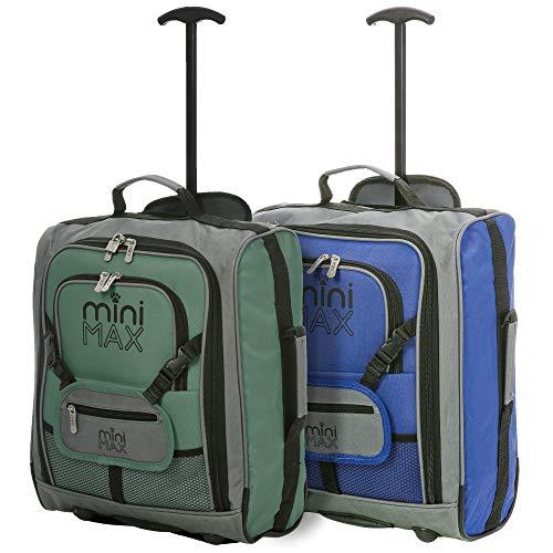 Valigie per bambini - Trolley Zainetto di viaggio con frontale per giocattoli/bambole. Perfetto anche comeCartella per asilo/scuola. - MINIMAX (Blu + Verde)
