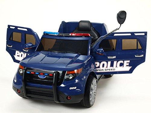 blau Polizei Kinderauto Kinderelektroauto Kinderelektrofahrzeug Kinder elektroauto 12V Polizei Policie mit Türen und RC