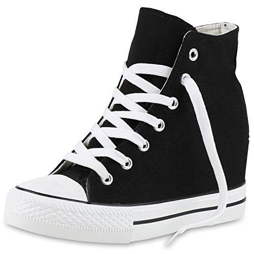 SCARPE VITA Damen Sneakers Keilabsatz Sneaker-Wedges Stoffschuhe Schnürer 160560 Schwarz 40