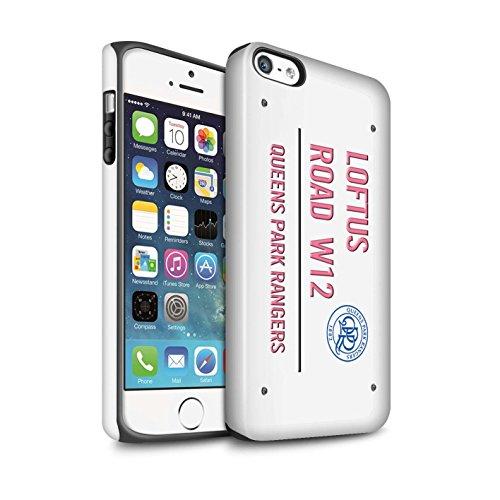 Officiel Queens Park Rangers FC Coque / Matte Robuste Antichoc Etui pour Apple iPhone SE / Blanc/Or Design / QPR Loftus Road Signe Collection Blanc/Rose