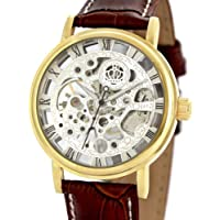 Alienwork Orologio meccanico Scheletro carica manuale inciso Cuoio argento rosolare (Rolex Omega Orologi Omega Watch)