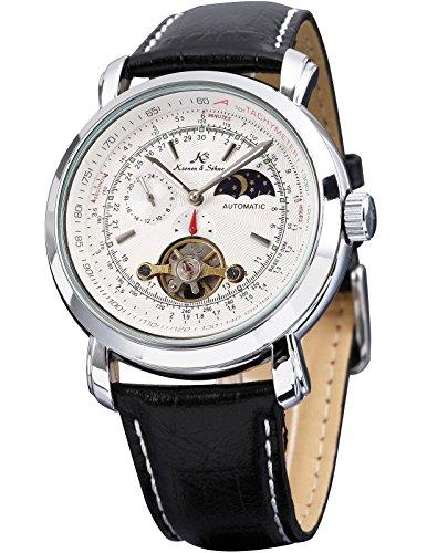 KS KS069 - Relojes de pulsera para hombre, mecánico automático reloje con correa de cuero negro