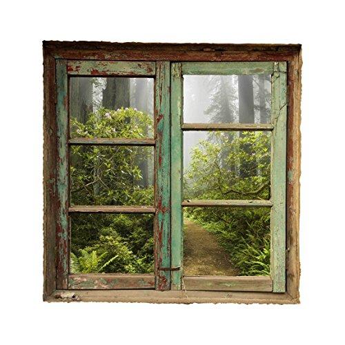 Bilderwelten 3D Wandtattoo - Nebliger Waldpfad - Quadrat 1:1, Sticker 3D Wandtattoos Wandsticker Wandbild, Größe HxB:80cm x 80cm