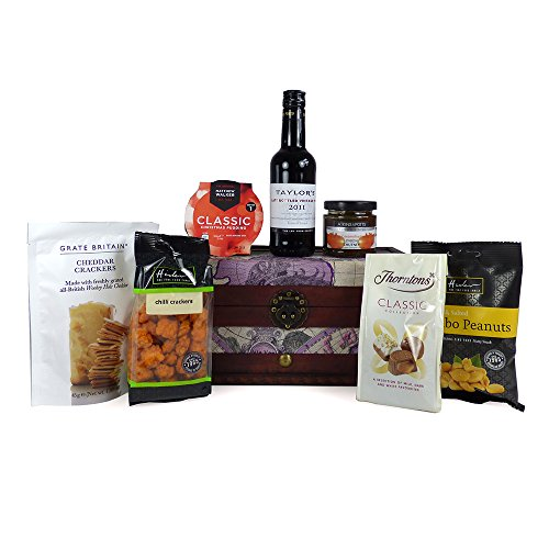 20cl Taylors Port and Gourmet Food Treats Hamper presented in our 'Around the World' Design Chest - Perfect gift idea for Valentines for her, Christmas presents, Birthday, Coporate or Thank You Gifts