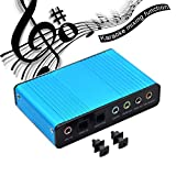 Valinks 6 Kanal Externe Soundkarte 5.1 Surround Sound USB 2.0 externer Optischer S/PDIF Audio Soundkarte Adapter für PC Laptop Aufnahme Kompatibel mit Windows 10/8/7/XP Blau Blau