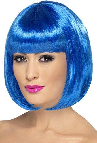 Smiffys, Damen Party Perücke, Bob mit Pony, 30,5cm Länge, One Size, Blau, (Haar Blau Ideen Perücke Kostüm)