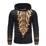 Zolimx Herren Ethnic Print Hoodie Hooded Sweatshirt Pullover Herbst Langarm Print Top Tee Outwear Blouse