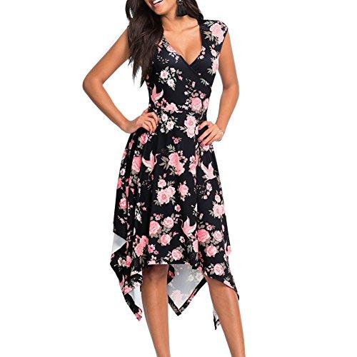 amen Lang V-Ausschnitt Maxikleid Ärmellos Strandkleid Asymmetrisches Kleid Blumenkleid Partykleid-BK-L (Bis Kleider)