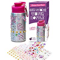 Decorate & Personalize Your Own Water Bottle for Girls with Tons of Rhinestone Glitter Gem Stickers! BPA Free 560 mL Kids Water Bottle! Great Gift for Girls of All Ages, Fun Art & Craft Set