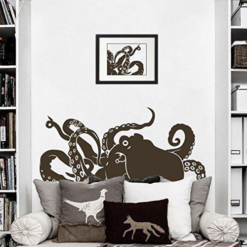 Vinilo Animal de mar mtong tentáculos de pulpo Kraken adhesivo etiqueta de la pared, vinilo, marrón, 22'h x50'w
