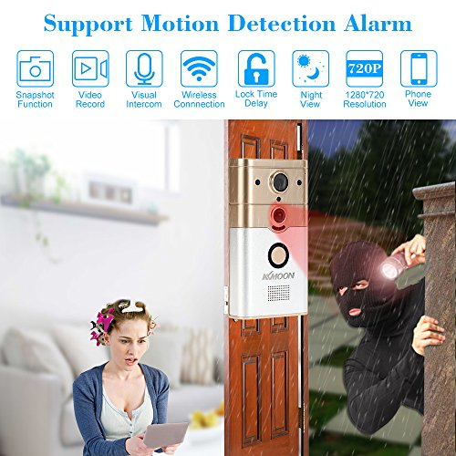 KKmoon Video Door Phone Doorbell Intercom Entry System 720P 1.0MP Camera Night Vision,Support Remote,unlocking,Recording,Snapshot