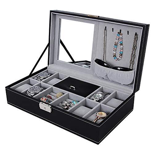 Naturer Schwarz Uhrenbox Brillenbox mit schmuckkasten Leder für Herren und Damen- Etui mit 8 Fächern für Uhren und 1 für Brille-Organizer für Uhren und Brillen Schmuck