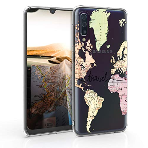 kwmobile Samsung Galaxy A50 Hülle - Handyhülle für Samsung Galaxy A50 - Handy Case in Travel Schriftzug Design Schwarz Mehrfarbig Transparent