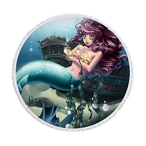 SUYUN Mehrzweck dekorative Tapisserie Badetuch Runde Strandtuch Mikrofaser Digitaldruck Meerjungfrau A 150 * 150cm