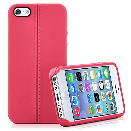 Premium Handy Tasche für iPhone 4 / 4S | Silikon Hülle in eleganter Leder Optik | Handy Schutz Case von OneFlow | Back Cover in Karamell CORAL