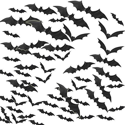 Yunli 120 pezzi pvc 3d adesivo pipistrelli adesivi da parete accessori halloween della festa da te set di decorazioni per finestre domestiche per halloween festa fornitura
