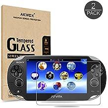 [2 Unidades] Protector de Pantalla para Sony PS Vita 1000 Akwox [9H Dureza] Cristal Vidrio Templado para PS Vita Cristal Templado