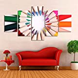 YDGG Wall Art Pictures Poster Canvas Prints Painting Studio Background 5 Pieces Color Pencils Home Decor-40x60 40x80 40x100cm no frame