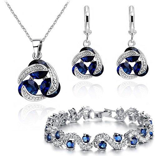 Zaffiro simulato blu Cristalli austriaci di zirconi Purare Collana con ciondolo 45 cm Orecchini Bracciale 18 kt placcato oro bianco