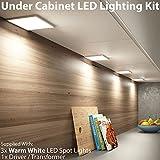 3x 6W LED Unter Schrank/Schrank quadratisch Panel Küche Leuchte & Driver Kit–Nickel Finish–Warm Weiß Beleuchtung Beam gebürstet–Einbauleuchte/bündig montiert–Counter/Arbeitsplatte Down Lights–Cablefinder