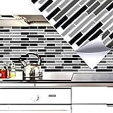 4 Set 27,9 x 23,4 cm Grandora Mosaïque 3D autocollant pour carrelage w5414 auto-adhésif cuisine salle de bain Stickers muraux Tuiles décoratives Film Noir Gris Argent