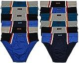 ► 12 bequeme Herren Sport - Slips in Farbkombinationen ohne Eingriff 100% Baumwolle 12er Spar Pack Slip Herren Slip Jungen Mann - M L XL 2XL 3XL 4XL