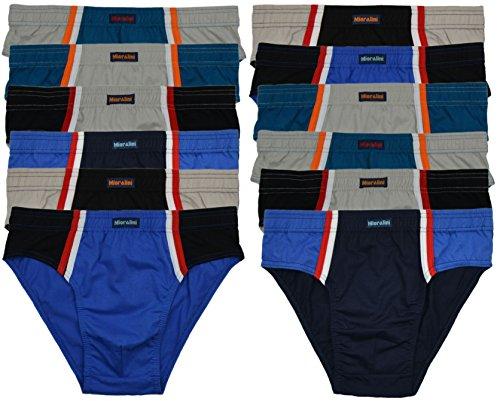 ► 6 oder 12 Herren Sport – Slips in Farbkombinationen ohne Eingriff 100% Baumwolle 12er Spar Pack Slip Herren Slip Jungen Mann – M L XL 2XL 3XL 4XL