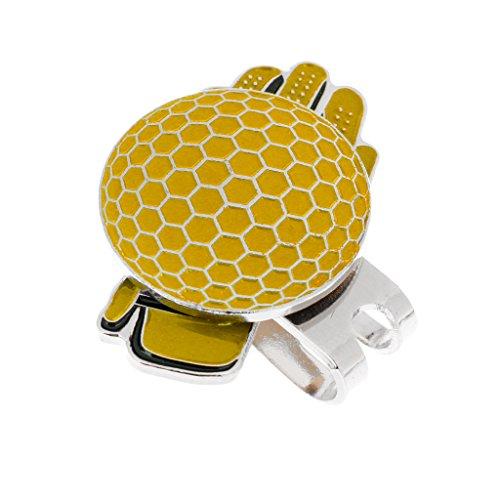 sharplace Edelstahl Cool Handschuh Golf Ball Marker & Magnetverschluss Hat Clip-Pocket Größe und leicht, gelb (Cool Ball Marker)