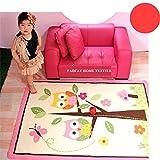 FADFAY Heimtextilie, einzigartiger Kinderteppich fürs Wohnzimmer, Rosa Design, Cartoon mit Eulen, Märchenfeen, grazilen Schmetterlingen