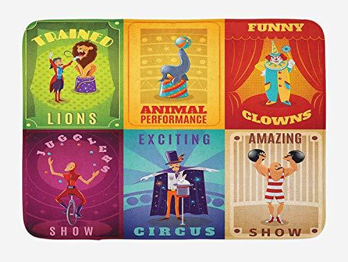 AoLismini Zirkus-Badematte, Zirkusfiguren mit trainierten Tieren, Trapezkünstler-Retroshow-Design für Strongman, Plüsch-Badematte mit Antirutsch-Unterstützung, Mult
