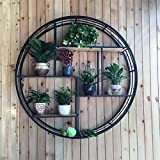 IG Haushalt , Möbel Eisen Holz Regal Wand Dekoration Runde Wandhalterung Home Wohnzimmer Lagerregal,60 * 17 * 60 cm