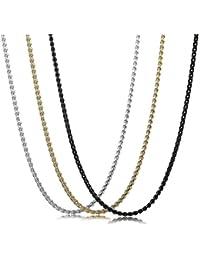 Sailimue 3 Peizas 2MM Acero Inoxidable Collars Hombre Mujer Cadena Collar Fino Negro Plata y Dorado
