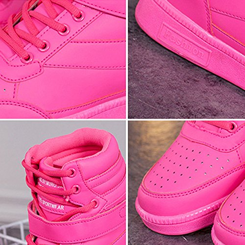 BAINASIQI Sneaker Donna Zeppa Interna Alte Scarpe da Ginnastica Casuale cuneo piattaforma catena stivaletti traspirante Scarpe sportive Rosa-01