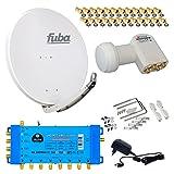 FUBA 8 Teilnehmer Digital SAT Anlage DAA850G + Opticum LNB 0,1dB FULL HDTV 4K + PMSE Multischalter 5/8 + 24 Vergoldete F-Stecker Gratis dazu