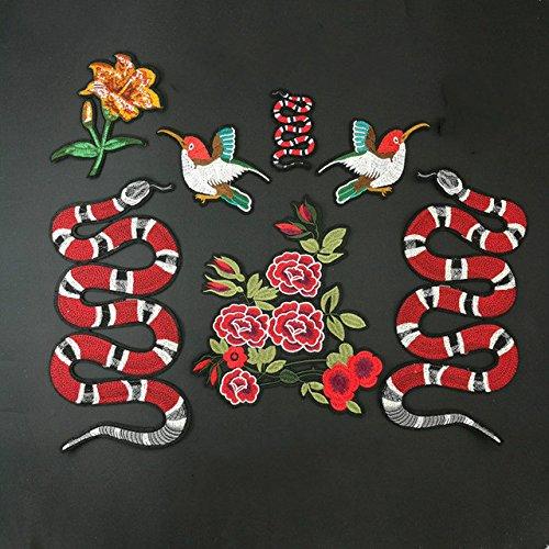 Yalulu 7 Stück Gemischt Groß Schlangen Pfingstrose Vogel Patches Aufnäher Aufbügler Applikation zum aufbügeln Tattoo Patches Bügelbild Sticker Aufnäher Aufbügler (Skull Tattoos Snake)