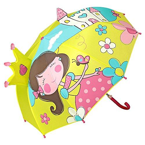 VON LILIENFELD Regenschirm Kind Kinderschirm Junge Mädchen Motiv Prinzessin mit Schloß (bis ca. 8 Jahre)