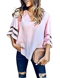 SHOBDW Las Mujeres de Verano de Moda con Cuello en V Tops Casual Manga Corta sólido Sudadera Pullover Blusa Suelta Camiseta Camiseta…