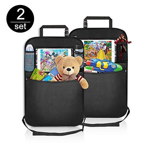 Auto Rückenlehnenschutz, Mixigoo 2 Stück Auto Rücksitz-Organizer für Kinder, Multifunktionen Rückenlehnen-Tasche mit Große Taschen und Durchsichtigem iPad-Tablet-Fach, Kick-Matten-Schutz für Autositz