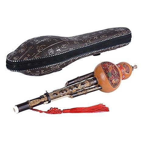 ammoon Chinois Handmade Noir Bambou Hulusi Gourde Cucurbit Flûte Ethnique Musical Instrument clé C avec Cas pour Débutant Mélomane